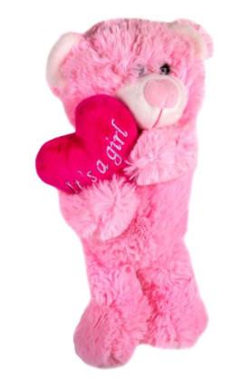 """Ursuleț de pluș roz """"Este o fată"""" de 28 cm."""