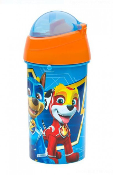 Bidon apa pentru copii cu mecanism pop-up si design Paw Patrol