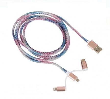Cablu de încărcare 3-în-1 (tip C, Micro USB, 8 pini)