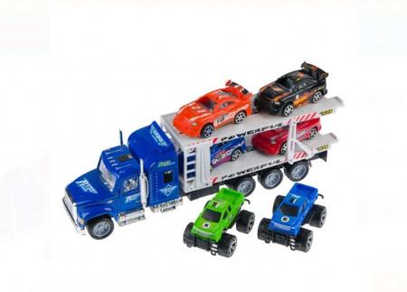 Camion cu 6 masini de curse, 4 mașini de curse + 2 masini4x4
