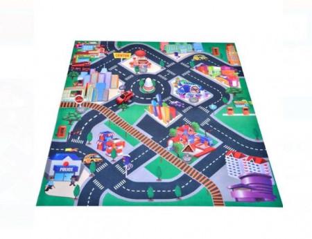 Covor de joaca pentru copii cu masinuta de curse inclusa si obstacole, 80x70 cm