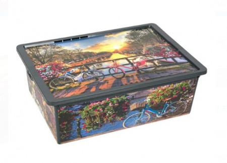 Cutie de depozitare cu capac din plastic, negru - Model Amsterdam - 25l