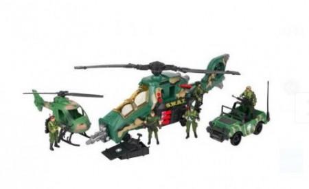 Set militar cu 2 elicoptere, 1 Jeep si 4 figurine