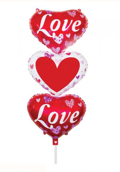 Balon Valentine's Party Folie roz Triple Heart 40x95 cm