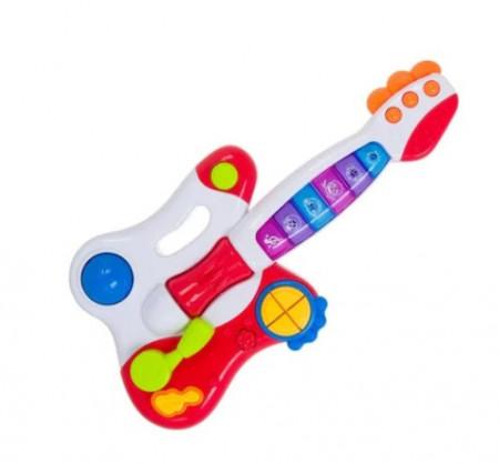 """<img src=""""muz.jpg"""" alt=""""Instrument muzical tip chitara electrica pentru copii, cu butoane multicolor, sunete si lumini, 45x25 cm, 18 luni+"""">"""