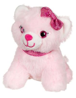 Pisica de plus, roz, funda cu sclipici, 14 cm