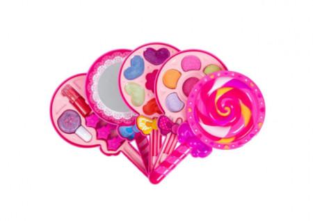 """<img src=""""machiaj lolipop.png"""" alt=""""Trusa de machiaj pentru fetite in forma lollipop cu luciu de buze, lac de unghii, fard de ochii,9x17x7 cm"""">"""