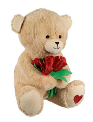 Urs de plus cu buchet de trandafiri rosii, 40 cm