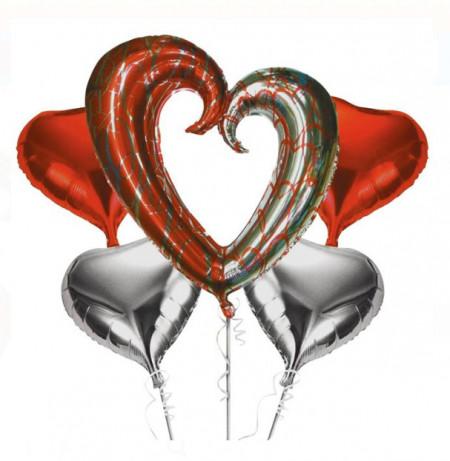 Baloane inimi culori metalizate - 5 buc.