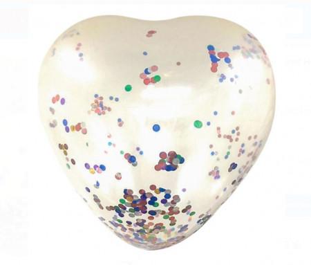 Balon gigantic transparent in forma de inima cu confetti - 85cm