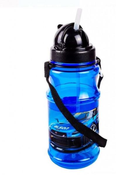 Bidon apa pentru copii cu mecanism pop-up si design masina sport