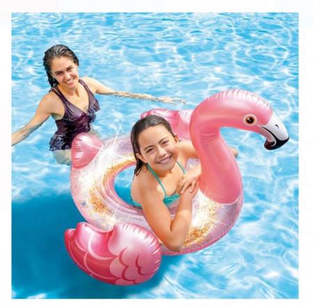 Colac de inot in forma de flamingo INTEX 89x71 cm
