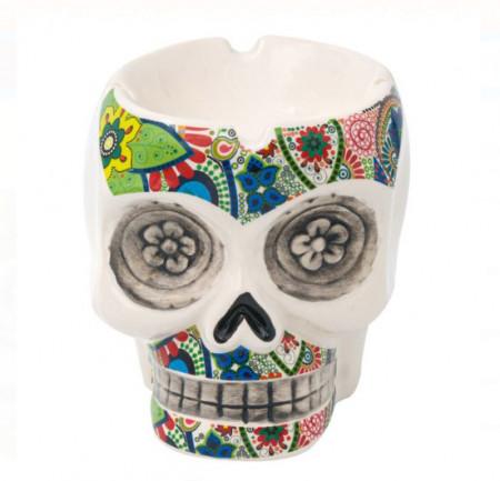 Scrumieră din argilă 3D Craniu colorat 13x13x13 cm