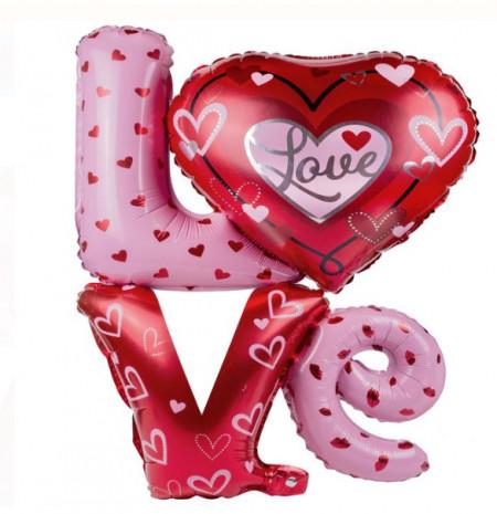 Balon culori metalizate rosu - roz - LOVE
