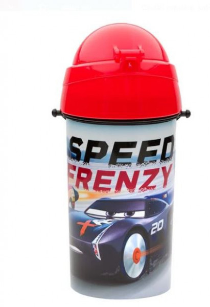 Bidon apa pentru copii cu mecanism pop-up si design cu masini