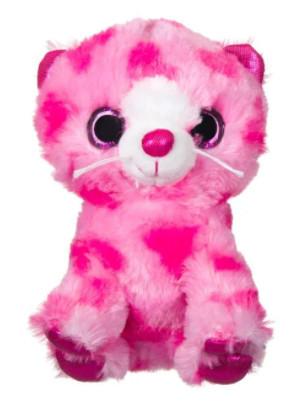 Pisica roz de plus cu inimioare, ochi sclipici, 15 cm