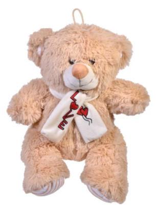 """Ursuleț de pluș bej cu eșarfă """"Dragoste"""" 30 cm"""