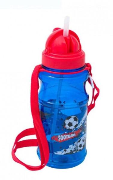 Bidon apa pentru copii cu mecanism pop-up si design fotbal