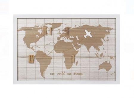 Rama foto tip panou cu carlige pentru 8 poze, Harta lumii, 60x40 cm