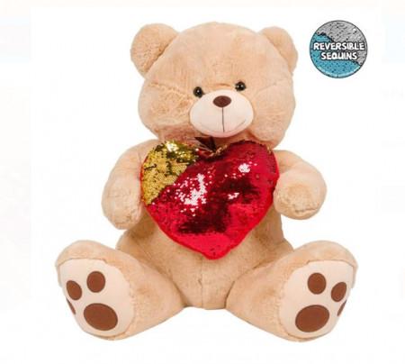 Ursulet bej din plus cu o inima cu paiete - 60cm