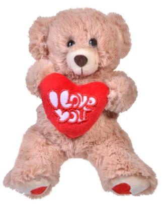 Ursuleț de pluș Bej cu Inimă Roșie 18 cm