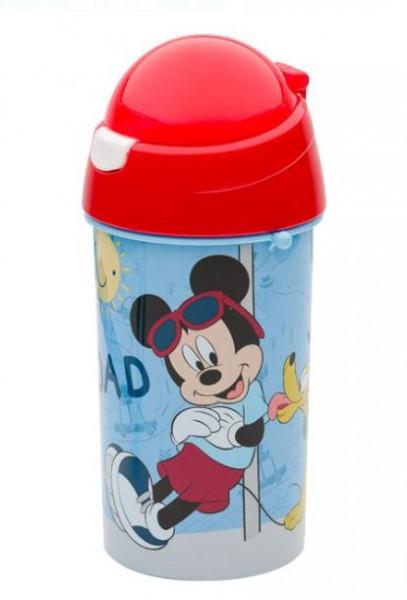 Bidon apa pentru copii cu mecanism pop-up si design Mickey