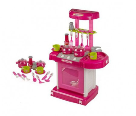 Bucatarie cu aragaz, roz, lumini si sunete, 14 accesorii, pentru fetite