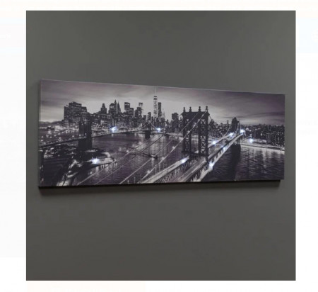 Tablou canvas LED New York Bridge 90x30x1,5 cm
