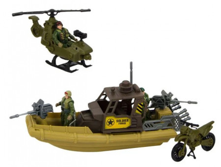 Barcă gonflabilă militară și elicopter cu 3 figurine