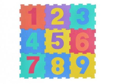 Covor puzzle din 9 bucati, din spuma, multicolor