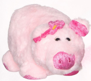 Porc de plus roz, fucsia, 18 cm