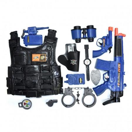 Set de politie cu vesta de protectie, pistol cu sunete si vibratii,catuse, statie, binoclu,busola + alte accesorii, pentru copii