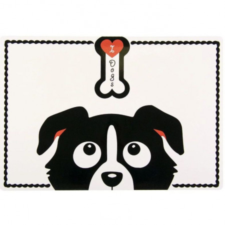 SUPORT PENTRU HRANIREA ANIMALELOR, I LOVE DOGS, 56X37 CM