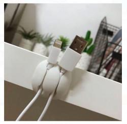 Cârlige albe autoadezive pentru cabluri - 4 buc