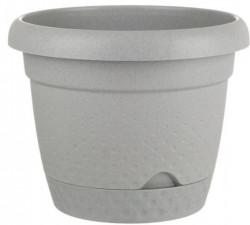Ghiveci din plastic cu farfurie gri încorporată - 4.9 litri