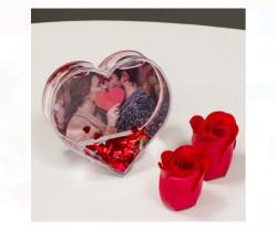 Glob foto personalizat in forma de inima cu apa si confetti - 9.5x9.5cm