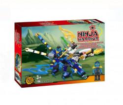Joc de construcție -Luptator Ninja pe Dragon albastru sau rosu
