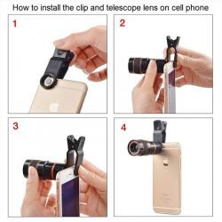 """<img src=""""11886608.jpg"""" alt=""""Lentila Optica Profesionala MCT cu Zoom x12 pentru telefoane mobile, cu clema de prindere, negru"""">"""