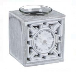Suport lumanare decorativ - din lemn pătrat perforat alb gri - 9x8 cm