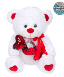 Urs Plush White Red Hearts Paiete 60 cm
