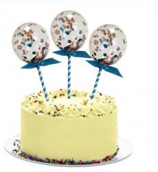 Baloane decorative de tort cu funda albastră și confetti colorate