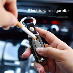 Bricheta electrica USB tip breloc, anti-vant,, cu lanterna