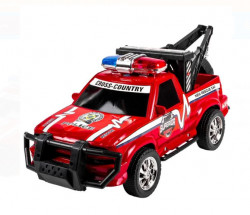 Jeep rosu de politie cu macara, 33x15x15 cm