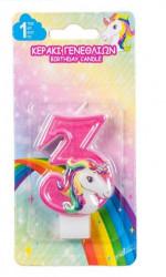Lumanare aniversara cu model unicorn nr. 3