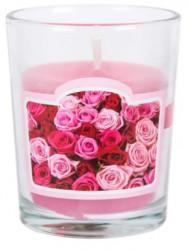 Lumânare roz parfumată într-un pahar, aroma trandafiri 5,3x6,3 cm