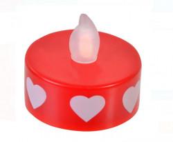Lumanari LED Tealight Roșu Alb Inimi Flacără galbenă 2 cm - 4 buc.