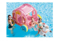 Spatiu de joaca gonflabil pentru piscina sau gradina, interior sau exterior, caleasca Cenuseresei roz + cal + kit de reparatie