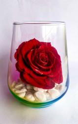 Trandafir nemuritor XL, in sticla cu reflexe curcubeu