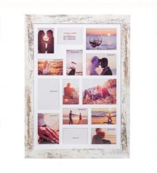 Cadru de decorare foto din lemn periat (14 poziții) - 58,5x78,5 cm