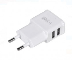 Încărcător USB cu 2 porturi alb - I-JMB